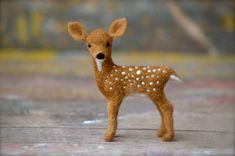 Needle Felted Fawn - white tail deer - needle felted animals. #needleart