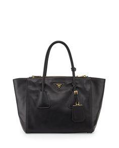 Prada Glace Calf Twin Pocket Tote Bag, Black (Nero)