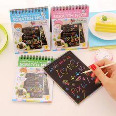 E24 DIY Scratchbook 스크래치 스티커 노트 책 그리기 스케치북 어린이 선물 창조적 상상 개발 장난감 문구