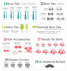Sizes boy ties, bow ties, hair accessories, diaper covers, tie skirts