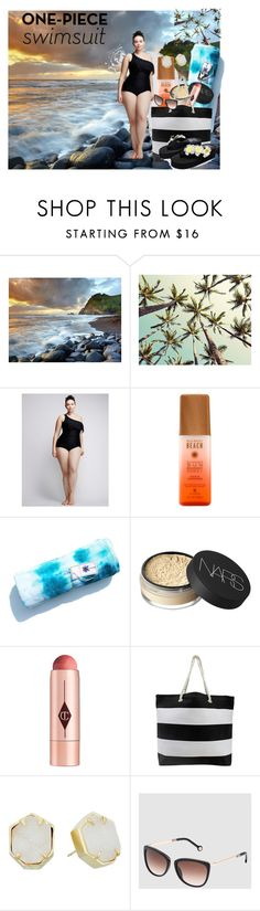 """Untitled #101"" by xiomara-ponce ❤ liked on Polyvore featuring Cacique, NARS Cosmetics, Charlotte Tilbury, Kendra Scott, Carolina Herrera, Sunset Hours, stylishcurves and plussizeswimsuit"