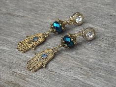 Hamsa Hand of Fatima Evil Eye Earrings