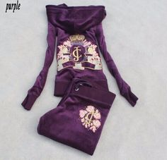 Spring / Fall / 2017 Women's Brand Velvet fabric Fashion Tracksuits Velour suit women Track suit Hoodies and Pants purple