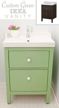Green IKEA Custom Bathroom Vanity...I don't like dark colors in my bathroom. I may go a bit brighter than this, but otherwise good idea