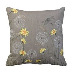 Beige Dragonfly and yellow floral cushion - flowers floral flower design unique style