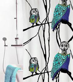 Vallila Hu-Huu -suihkuverho, sininen-valkoinen
