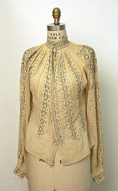 Romanian Blouse / Ie / La blouse roumaine / Date: . Dimensions: [no dimensions available]. Credit Line: Gift of Art Worker's Club, 1945 Folk Fashion, Vintage Fashion, Ethnic Fashion, Vintage Outfits, Bohemian Mode, Embroidery Fashion, Folk Costume, Couture, Blouse Vintage