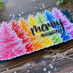 Rainbow Christmas Tree, 12 Days Of Christmas, Paper Craft Supplies, Paper Crafts, Honey Bee Stamps, Gift Card Giveaway, I Card, All The Colors, Layouts