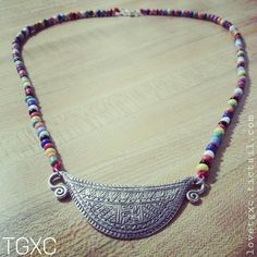Beaded Fine Silver Half Moon Flower Soul Lock Necklace via TGXC. Click on the image to see more!