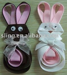 Bunny ribbon hair clips!  Perfect for Easter!