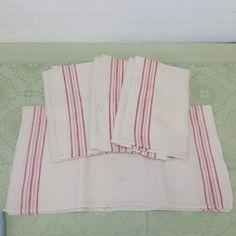 4+alte+Leinen+Geschirrtücher+mit+roten+Streifen+von+INESS+auf+DaWanda.com