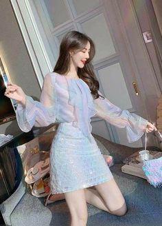 Korean Fashion Dress, Kpop Fashion Outfits, Ulzzang Fashion, Korean Outfits, Mode Outfits, Cute Fashion, Fashion Dresses, Korean Clothes, Cute Casual Outfits
