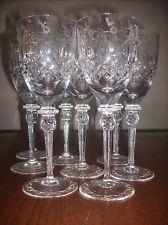 SET 8 ROGASKA GALLIA ETCHED LEAD CUT FINE CRYSTAL STEMWARE WATER GLASSES $30/EA!