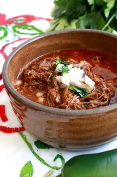 A bowl of this delicious Slow Cooker Birria de Res, or Mexican Beef stew, is so . - A bowl of this delicious Slow Cooker Birria de Res, or Mexican Beef stew, is so incredibly satisfyi - Authentic Mexican Recipes, Mexican Food Recipes, Soup Recipes, Healthy Recipes, Mexican Desserts, Best Mexican Food, Slow Cooker Recipes Mexican, Bean Recipes, Ovens