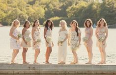 Summer Camp Wedding- love the different bridesmaid dresses