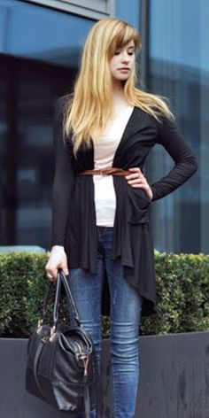 Modal Pocket Long Black Cardigan | Choies
