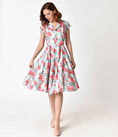 Hell Bunny Plus Size 1950s Mint Floral Cap Sleeve Suzannah Chiffon Swing Dress