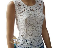 White woman lacy crochet top of floral motifs Openwork knit tunic Womens  floral blouse Top festival ad5e99b5af3