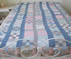 "Antique Vintage Pink Indigo White Hand Quilted Quilt 80"" X 84"" Nine Patch Plaid"