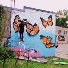 Mural Painting, Mural Art, Wall Murals, Butterfly Art, Monarch Butterfly, Garden Mural, School Murals, Murals Street Art, Creative Art
