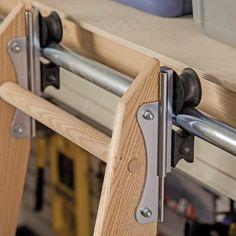 Track Ladder kit from Rockler; I think the cost would be kept down if we only get the track stuff from them and just build our own ladder. I *think* we can easily unclip it and move it to the storage lost, but tbc  --  Rockler Rolling Utility Ladder - Track Hardware, Zinc