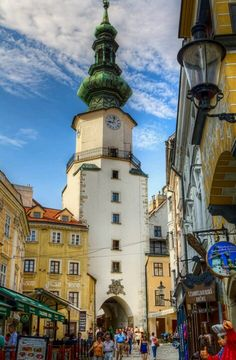 Michael's Gate in old town of Bratislava, Slovakia (on the way to Budapest from Prague) Places Around The World, Oh The Places You'll Go, Travel Around The World, Places To Travel, Places To Visit, Around The Worlds, Montenegro, Beautiful World, Beautiful Places