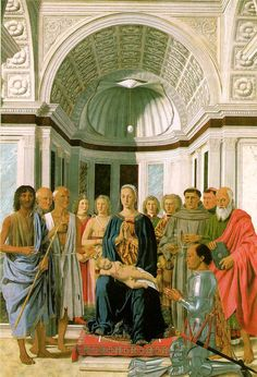 PIERO DELLA FRANCESCA: Montefeltro Altarpiece, 1465, Oil on panel, 248 x 170 cm; Pinacoteca di Brera, Milan. Piero della Francesco painted religious works that are marked by their simple serenity and clarity. He was also interested in geometry and mathematics and was known for his contributions in these fields.