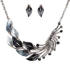 Sale: $7.05 & FREE SHIPPING Yazilind Ethnic Style Tibetan Silver Black Peacock Crystal Chunky Bib Earrings Necklace Jewerly Set Wedding Party