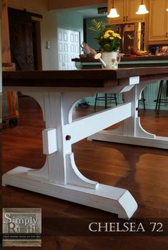The Chelsea 72 with an american walnut stained top and distressed white base. Rustic Wood Furniture, Diy Pallet Furniture, Diy Furniture Projects, Furniture Design, Trestle Table Plans, Farmhouse Table Plans, Farmhouse Dining Room Table, Dinning Room Tables, Wood Table