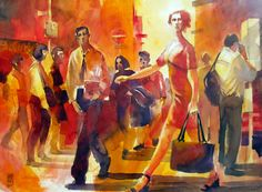 """Saatchi Online Artist: Alessandro Andreuccetti; Watercolor, 2011, Painting """"On the street"""""""