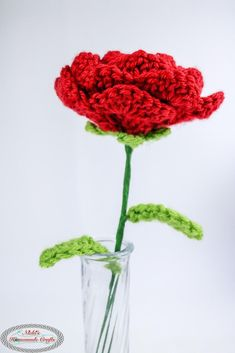 Rose with wired Stem & Leaves Crochet pattern for beginners by Nicole Riley
