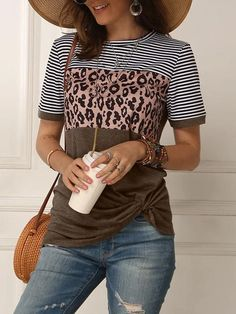 Striped Leopard Print Short Sleeve Tops – shrural.com Leopard Print Shorts, Leopard Blouse, Loose Tops, Striped Shorts, Fashion News, Long Sleeve Tops, Tunic Tops, Sleeves, Clothes