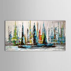 Contemporary art in modern canvas art painting wall hanging painting big abstract video piece 1 set sail sailboat sea Europe Monaco Beach fishing order in around 2-3 weeks shipping will point
