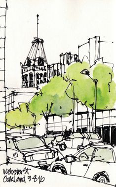Urban Sketchers S. Travel Sketchbook, Sketchbook Drawings, Ink Drawings, Art Sketches, Watercolor Architecture, Architecture Sketchbook, Watercolor Landscape, Sketch Painting, Watercolor Sketch