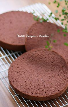 """Fluffy and Moist Chocolate Sponge Cake! """"This is a fluffy sponge cake made with pure cocoa powder. I added mizuame starch syrup to the batter and obtained a light and moist Genoise style chocolate sponge with a dense chocolate flavor. Recipe by Lesser Panda"""" @allthecooks #recipe #cake"""