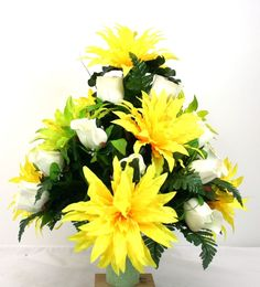 Father's Day Cemetery Vase Flower Arrangement Featuring White Roses and Spider M #Crazyboutdeco