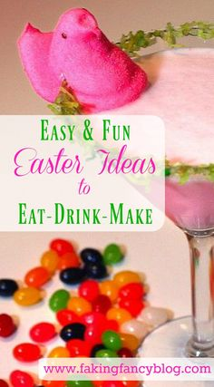 I love all these easy DIY Easter ideas, especially this delicious, pretty pink cocktail!