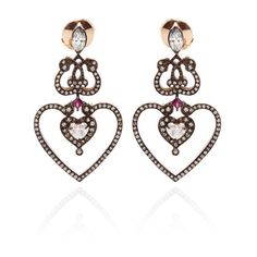 Sabine G 18K Rose Gold Diamond and Ruby Heart Earrings ($20,710) ❤ liked on Polyvore featuring jewelry, earrings, rose gold heart earrings, ruby diamond earrings, pink gold earrings, rose gold earrings and handcrafted earrings