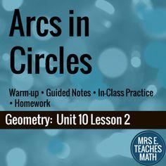 Arcs in Circles Lesson by Mrs E Teaches Math | Teachers Pay Teachers