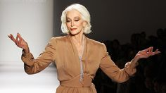 Model Carmen Dell'Orefice walks the runway at the Norisol Ferrari Spring 2013 fashion show in New Yrok Fashion Week. She is 81 years old.   Beauty has no best before or use by date.