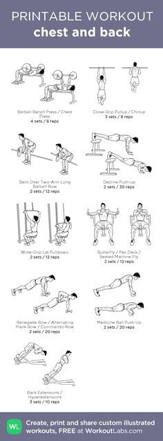 chest and back: my visual workout created at WorkoutLabs.com • Click through to customize and download as a FREE PDF! #customworkout http://www.weightlossjumpsstar.com/exercise-to-lose-weight/