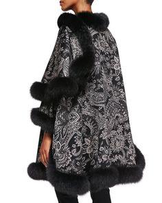Cashmere Paisley Fur-Trim Cape