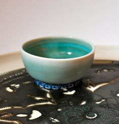 Small bowl by Melisa Dora - hand-thrown porcelain small bowl with raised turkish detailing on the botto