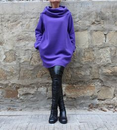 Purple Maxi dress, Mini dress, Fall Winter dress,Long sleeves dress, Sporty dress, Turtleneck Dress, Oversized dress, Day dress,Casual dress