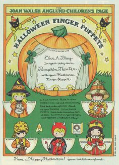 paper doll craft page by Joan Walsh Anglund Halloween Finger Puppets