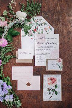 floral wedding invitations - photo by Hanna Photography ruffledblog.com/...