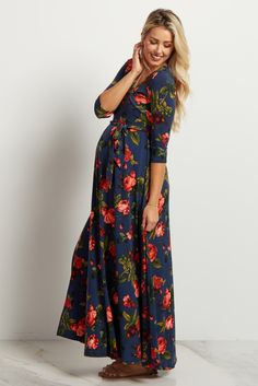 ff3530d08c658 Navy Blue Floral Wrap Maxi Dress Maternity Shoot Dresses, Maternity Wear,  Maternity Fashion,. pinkblushmaternity.com
