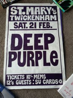 DEEP PURPLE ORIGINAL UK GIG POSTER