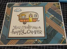 This Herringbone card features the Timberline Paper Packet (cut into 1/2 inch strips), Twilight Cardstock, Colonial White Cardstock, Cocoa Exclusive Inks Stamp Pad, CTMH Watercolour Pencils and the Camper Crazy My Acrylix Stamp Set.  Created by Denise Tarlinton http://scrapstampshare.blogspot.com.au