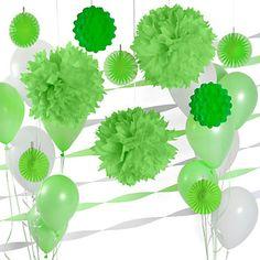 Green & White - Birthday Party Décor Kit | BigDotOfHappiness.com #Luau #BirthdayPartyIdeas